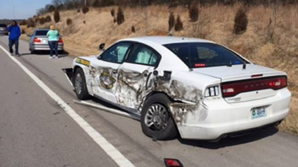 Video shows moment when Highway Patrol patrol car hit by