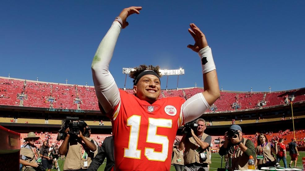 093f4d85b4c Kansas City Chiefs quarterback Patrick Mahomes celebrates as he comes off  the field after a game against the San Francisco 49ers. (AP Photo/Charlie  Riedel)