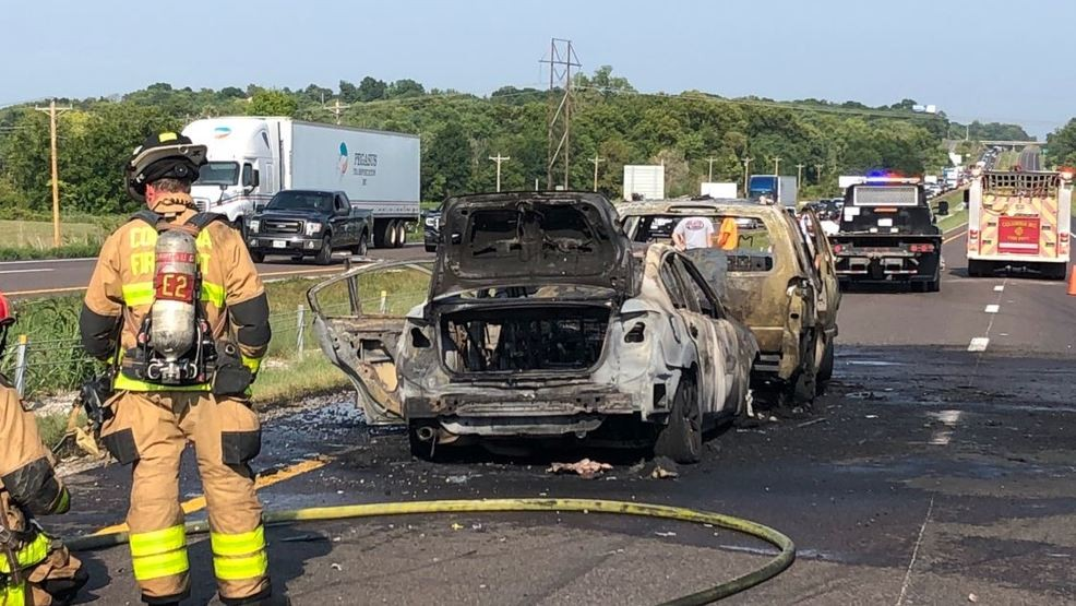 Highway crash sparks two-vehicle fire on I-70, traffic