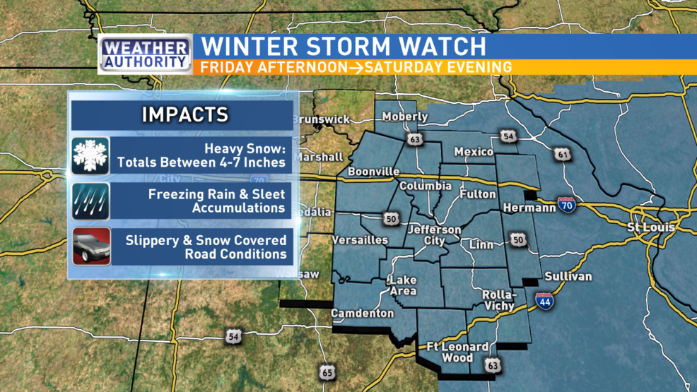 Winter Storm Watch issued for mid-Missouri counties | KRCG on haunted cemeteries in missouri, most haunted places in missouri, haunted hill waynesville missouri, lower ford road missouri, haunted roads in missouri, haunted caves in missouri, abandoned places in missouri, odd fellows home liberty missouri, polo missouri, cuba missouri, haunted mansion in missouri, fear house union missouri, lilac hill fayette missouri, upper blackwell road missouri, abandoned asylums in missouri, haunted bridges in missouri, haunted blackwell missouri, scariest places in missouri, ghosts in missouri, the word missouri,